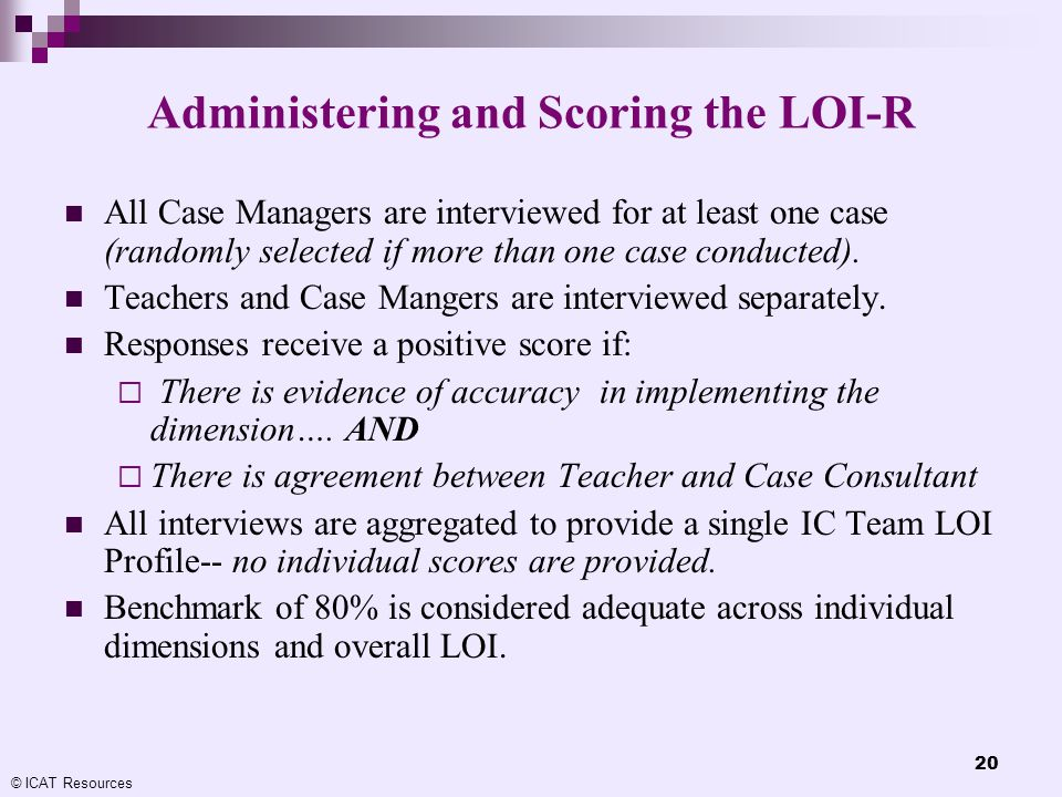 Administering and Scoring the LOI-R