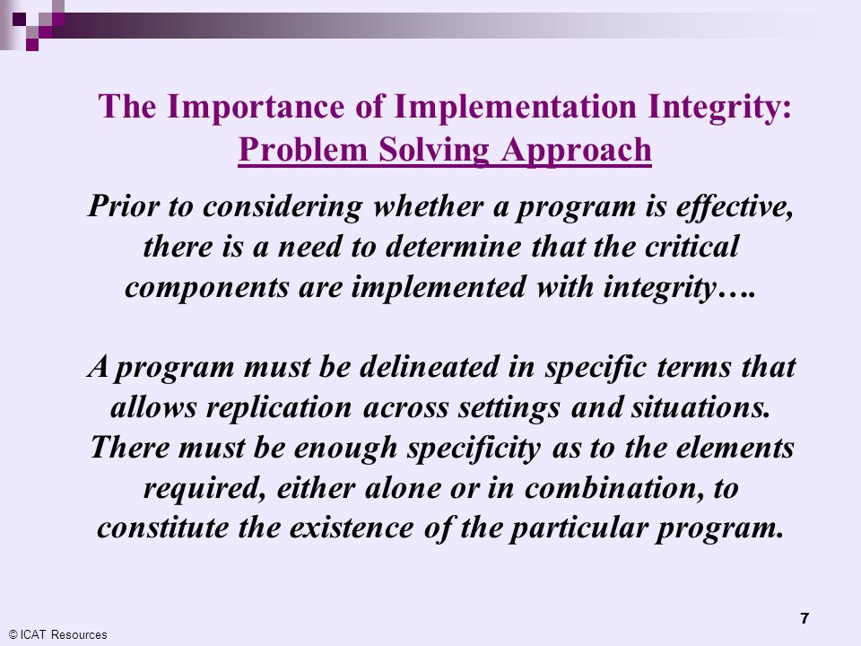 The Importance of Implementation Integrity: Problem Solving Approach