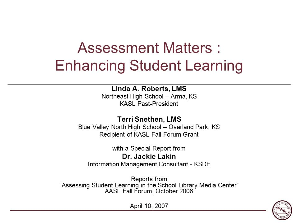 Assessment Matters : Enhancing Student Learning