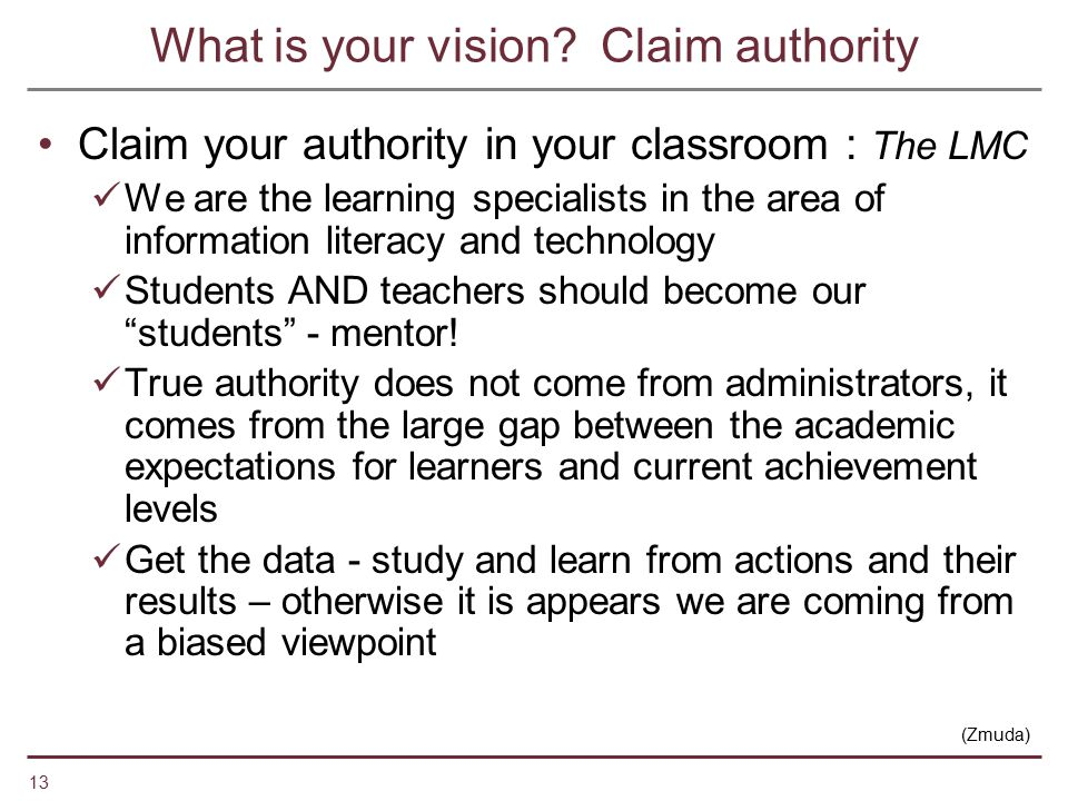 What is your vision Claim authority