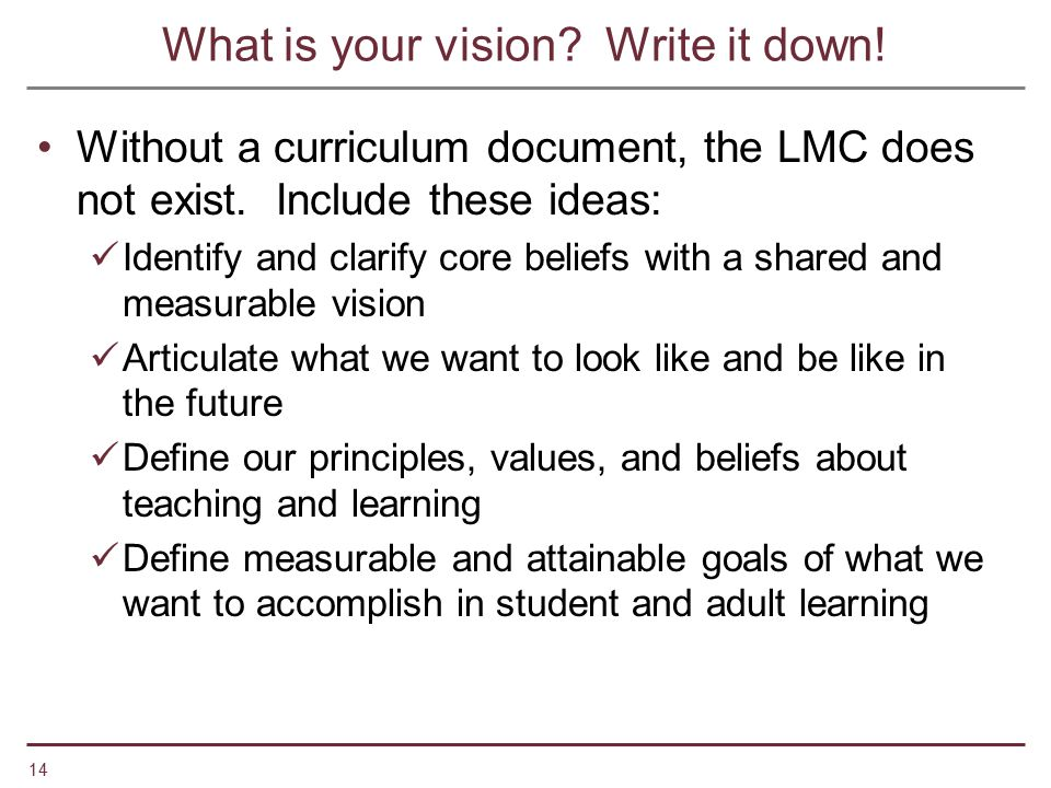 What is your vision Write it down!