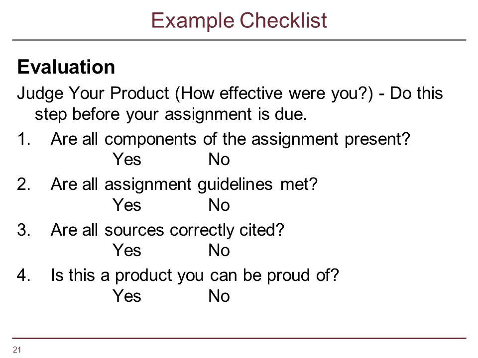 Example Checklist Evaluation
