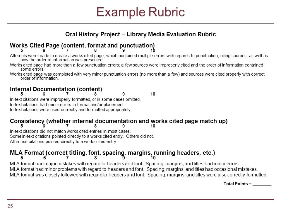 Oral History Project – Library Media Evaluation Rubric