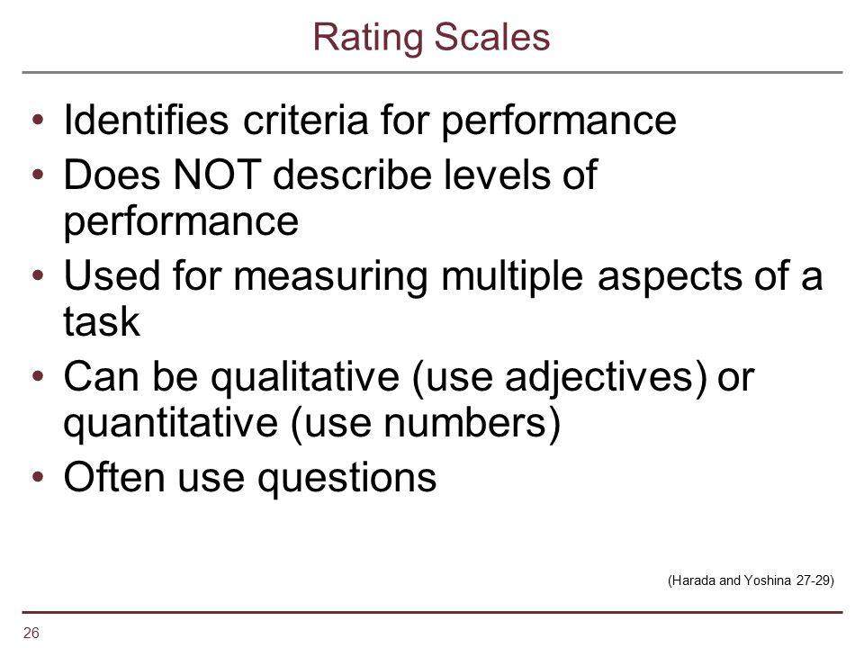 Identifies criteria for performance