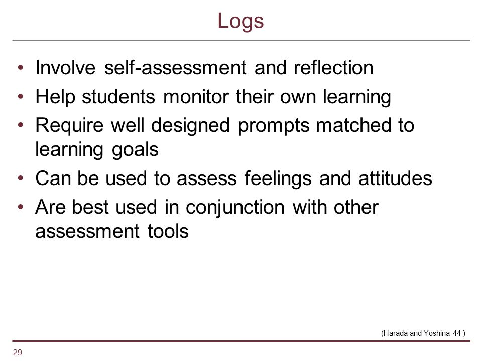 Logs Involve self-assessment and reflection