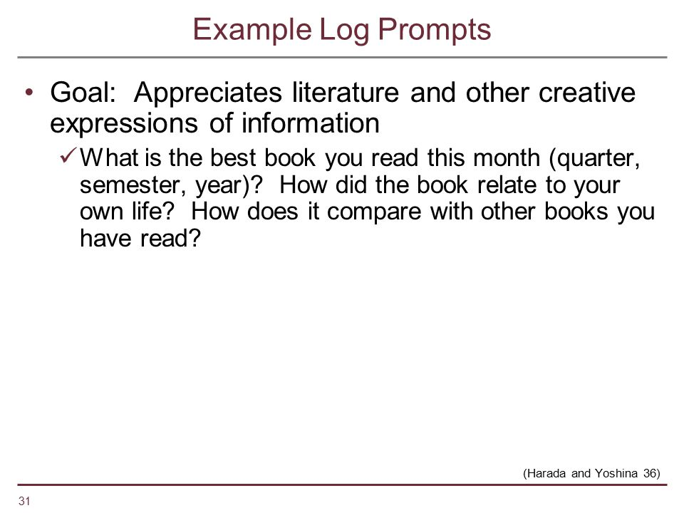 Example Log Prompts Goal: Appreciates literature and other creative expressions of information.