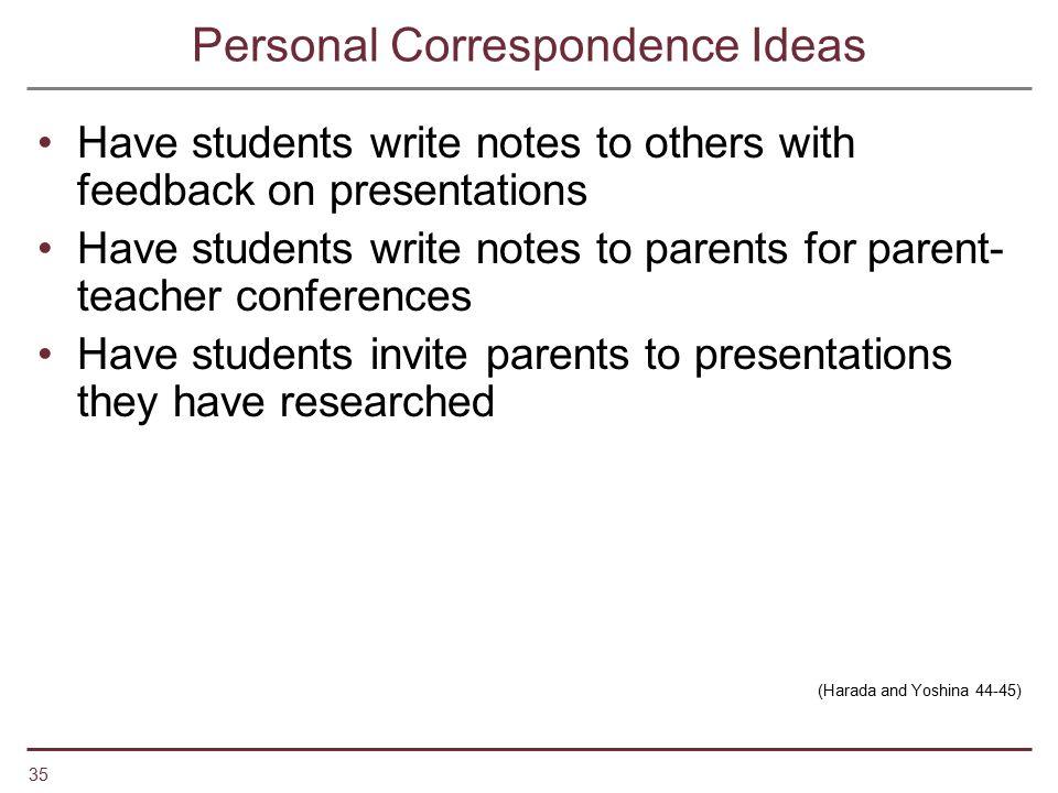 Personal Correspondence Ideas