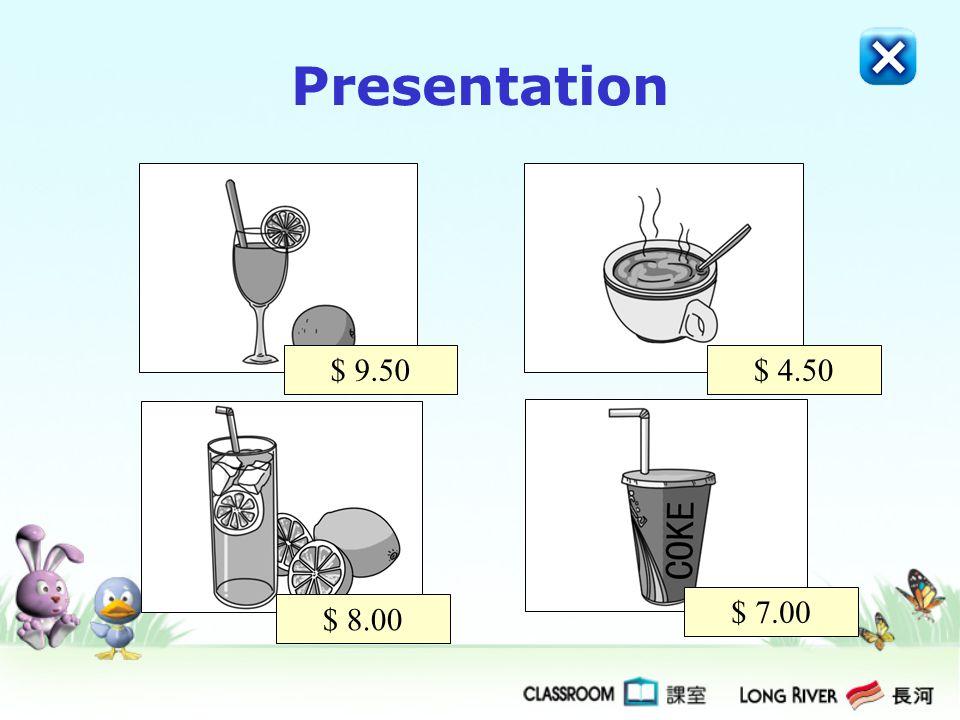 Presentation $ 9.50 $ 4.50 $ 7.00 $ 8.00