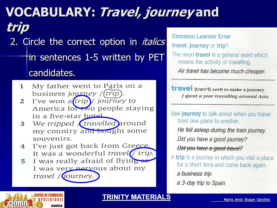 VOCABULARY: Travel, journey and trip