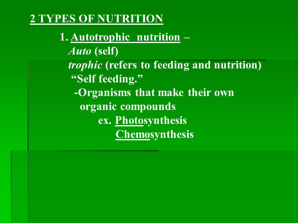 2 TYPES OF NUTRITION 1. Autotrophic nutrition – Auto (self) trophic (refers to feeding and nutrition)