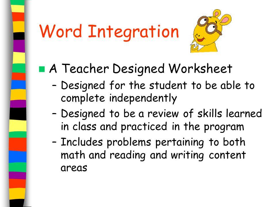 Word Integration A Teacher Designed Worksheet