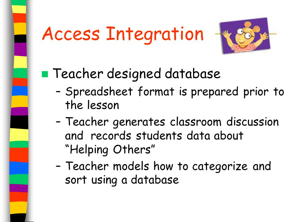Access Integration Teacher designed database