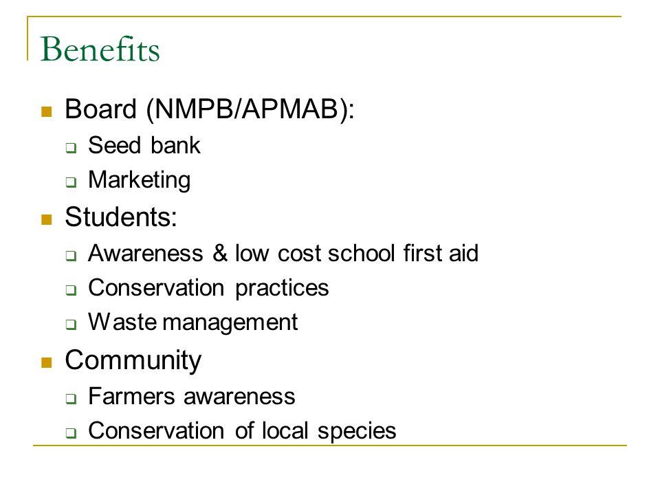 Benefits Board (NMPB/APMAB): Students: Community Seed bank Marketing