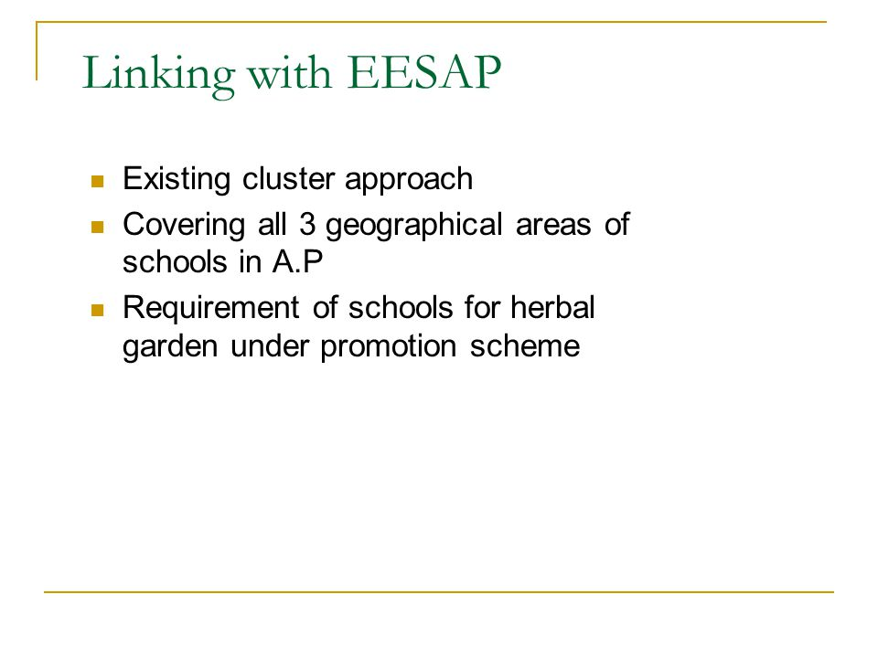 Linking with EESAP Existing cluster approach