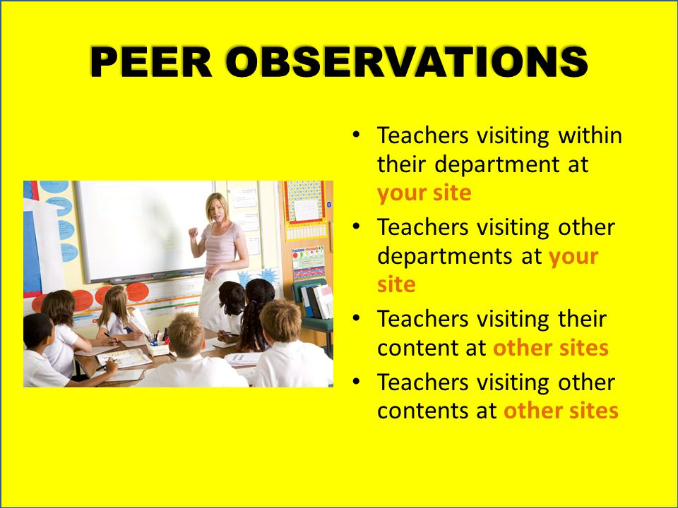 PEER OBSERVATIONS Teachers visiting within their department at your site. Teachers visiting other departments at your site.