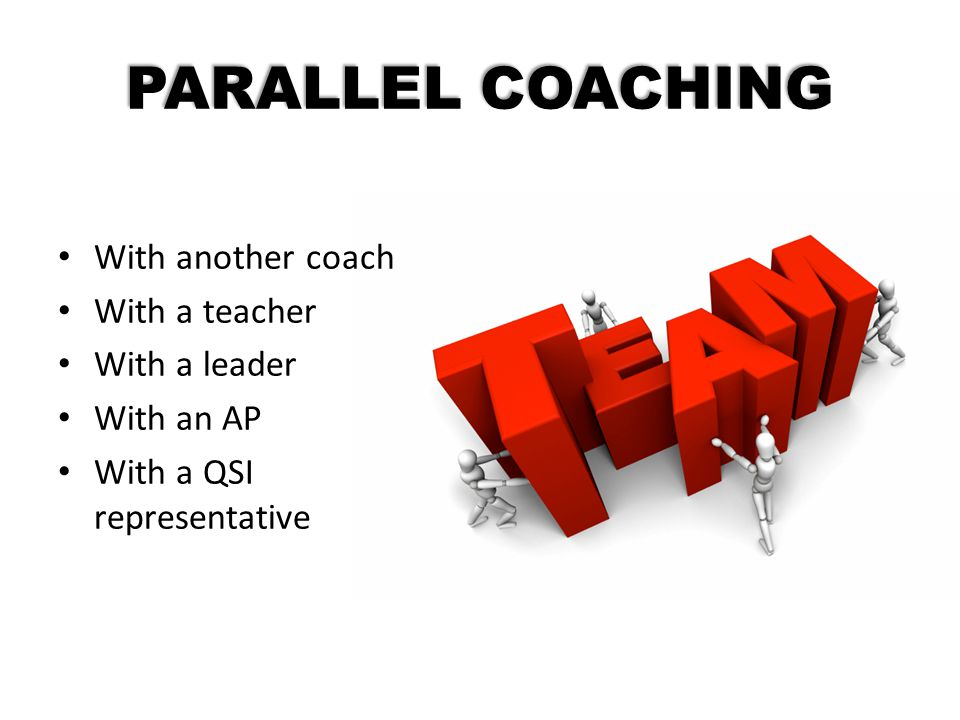 PARALLEL COACHING With another coach With a teacher With a leader