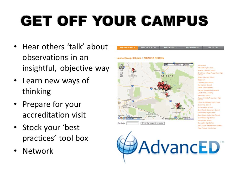 GET OFF YOUR CAMPUS Hear others 'talk' about observations in an insightful, objective way. Learn new ways of thinking.