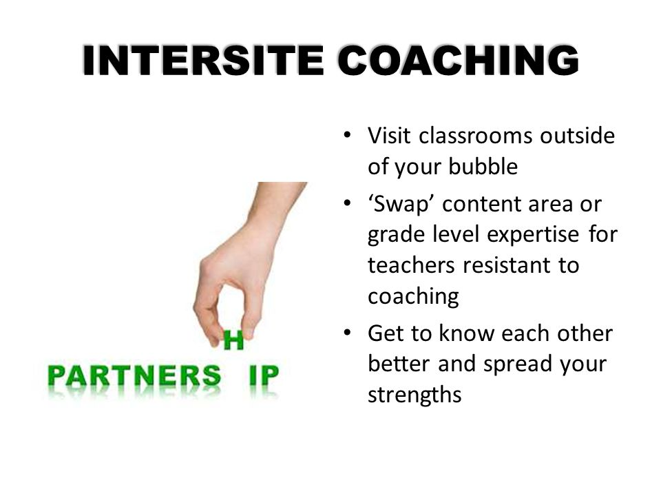 INTERSITE COACHING Visit classrooms outside of your bubble
