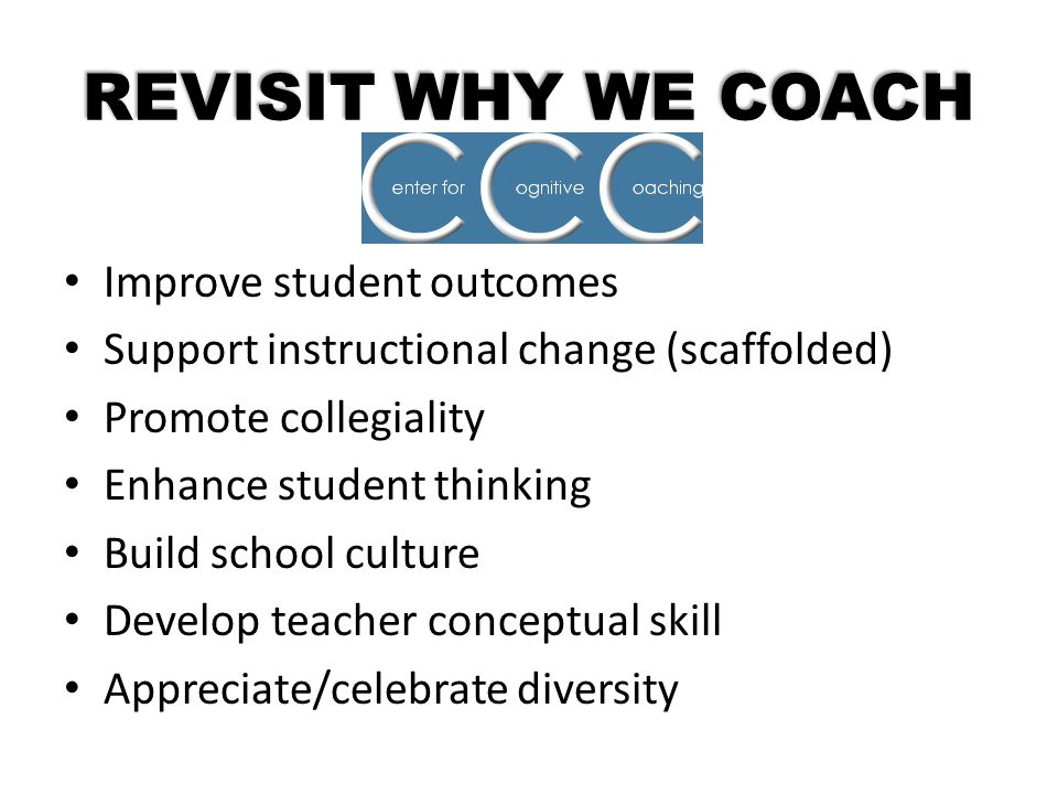 REVISIT WHY WE COACH Improve student outcomes