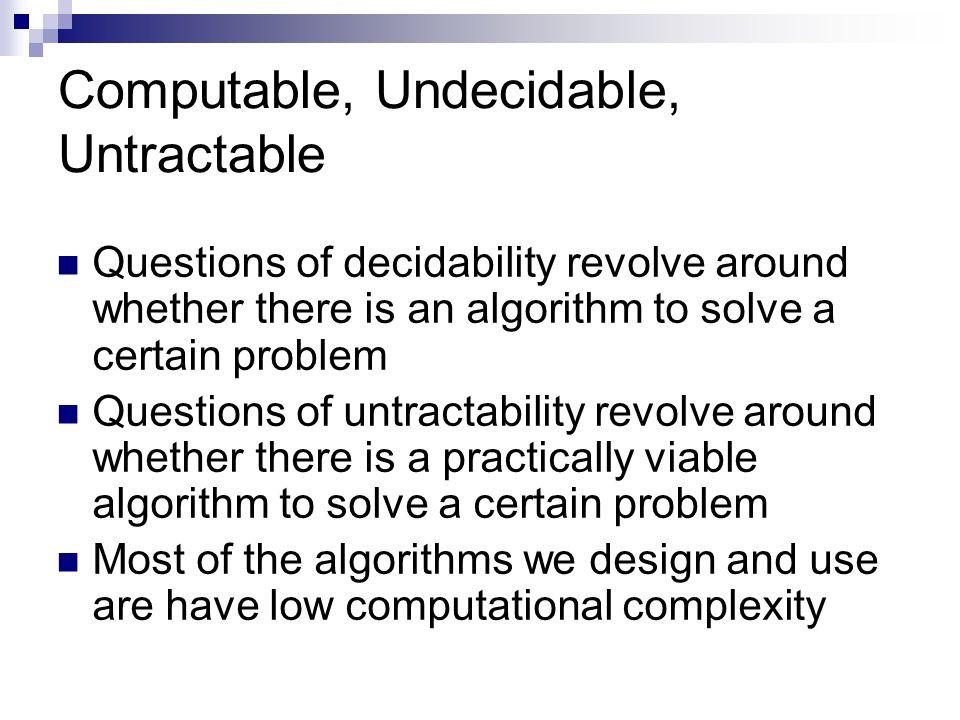 Computable, Undecidable, Untractable