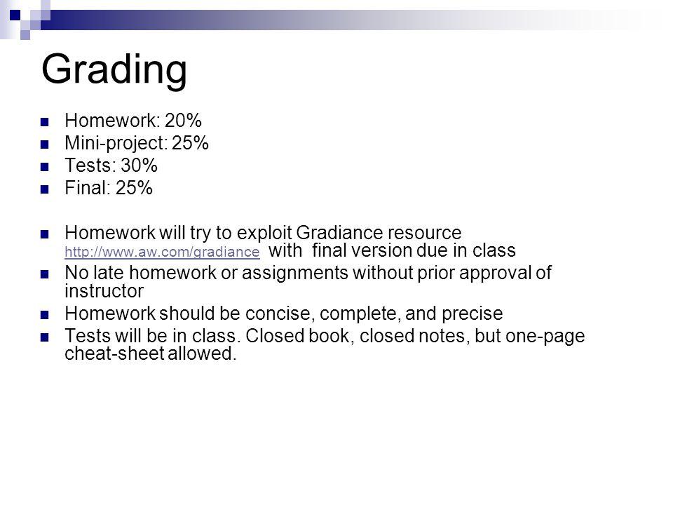 Grading Homework: 20% Mini-project: 25% Tests: 30% Final: 25%