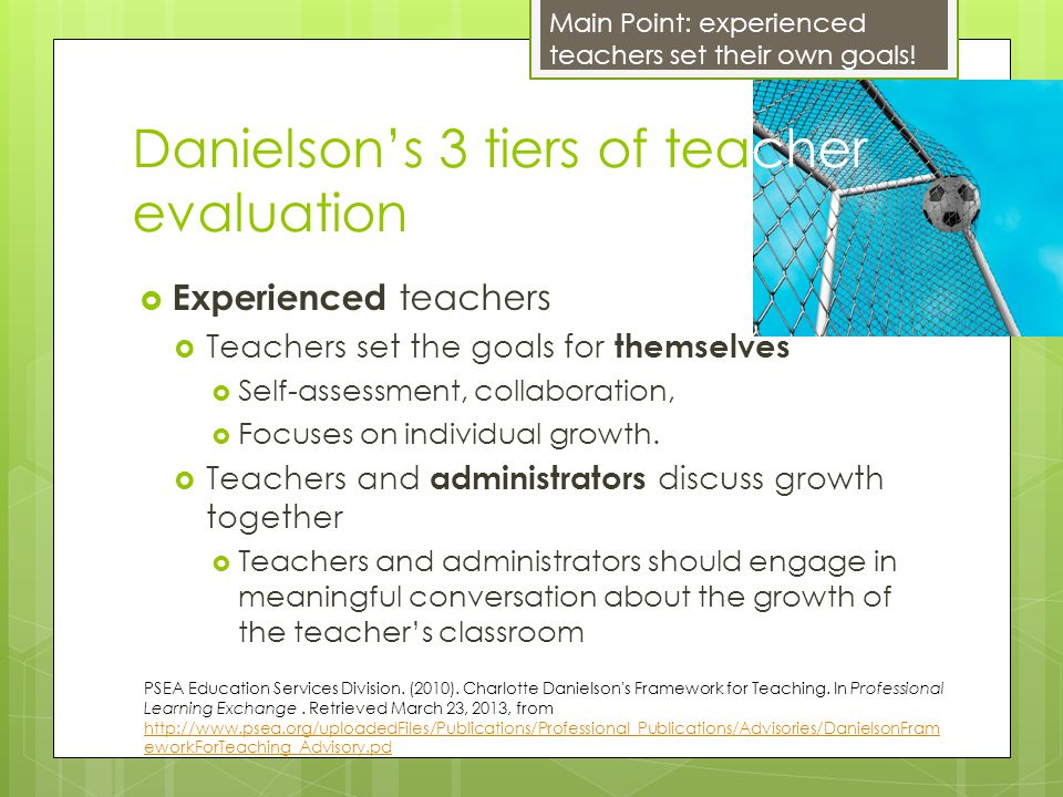 Danielson's 3 tiers of teacher evaluation