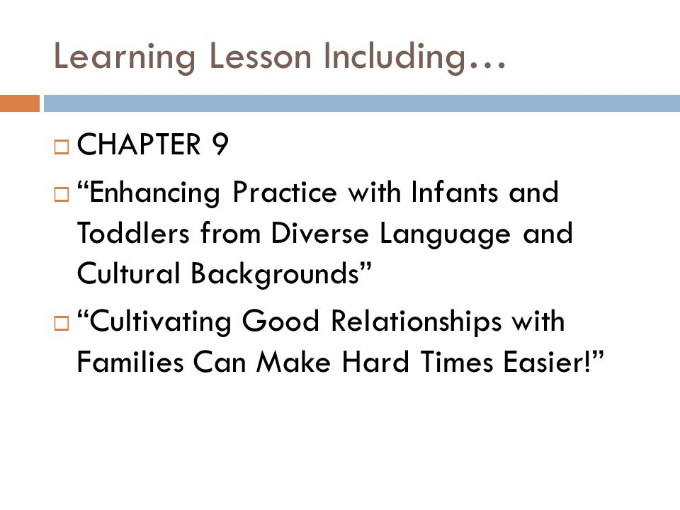 Learning Lesson Including…
