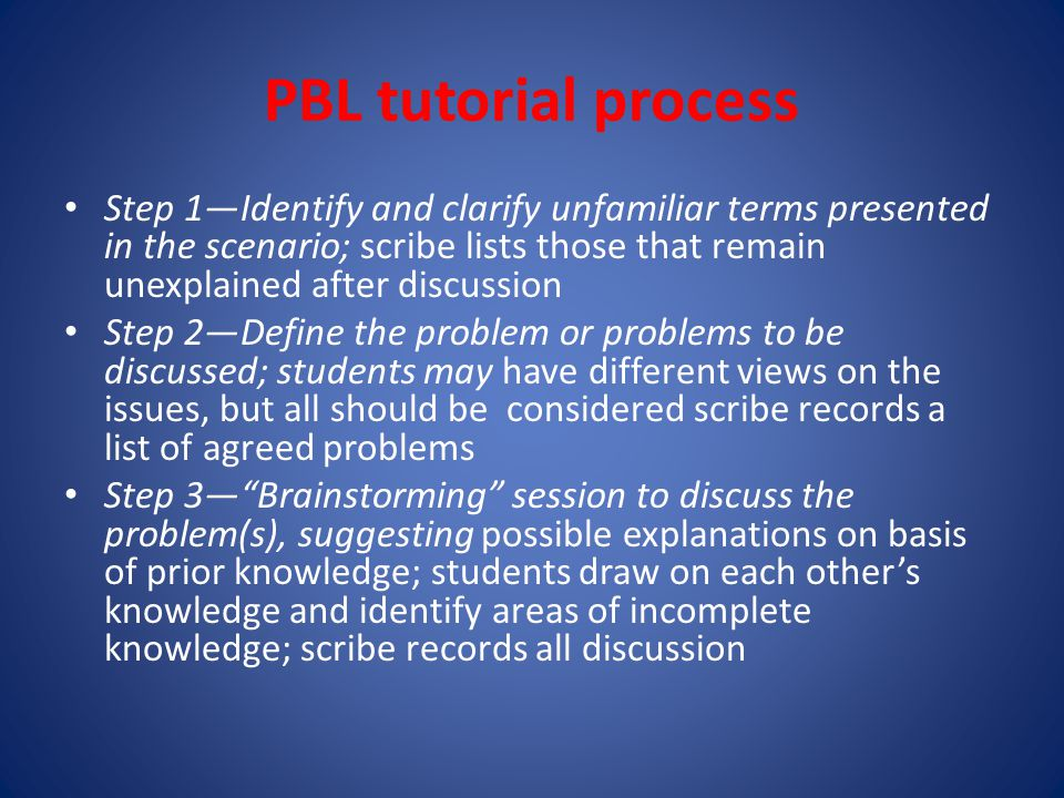 PBL tutorial process