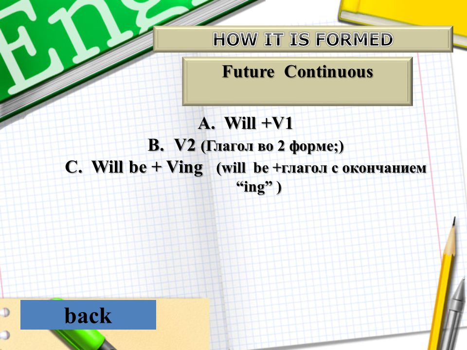 Will bе + Ving (will be +глагол с окончанием ing )
