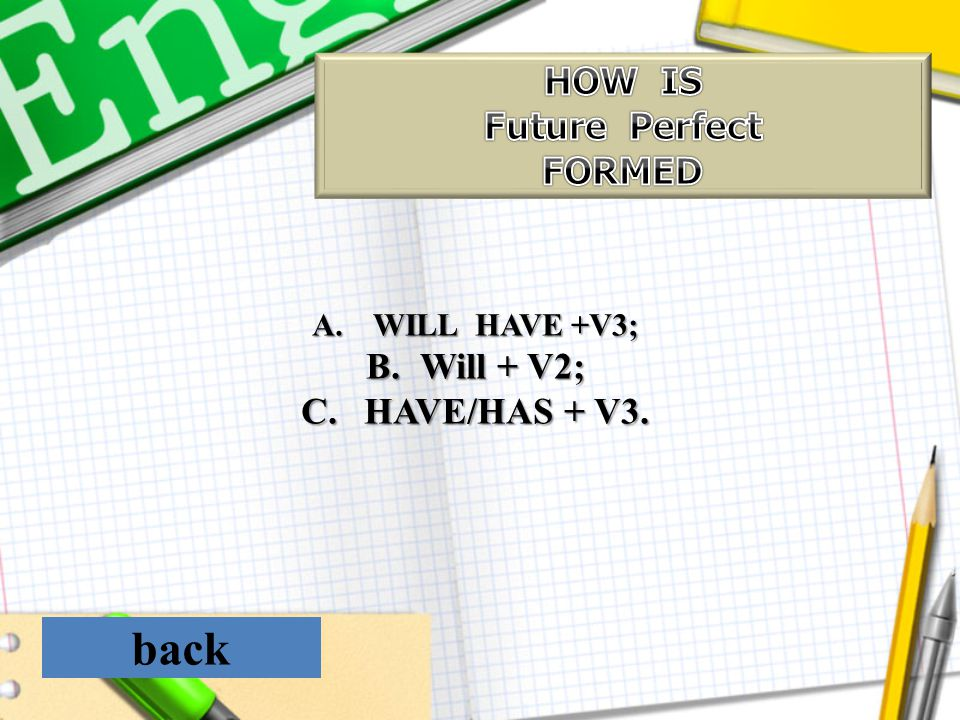 back HOW IS Future Perfect FORMED Will + V2; HAVE/HAS + V3.