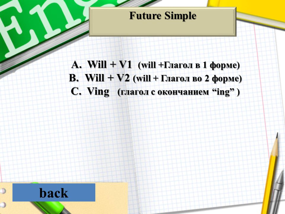 back Future Simple Will + V1 (will +Глагол в 1 форме)