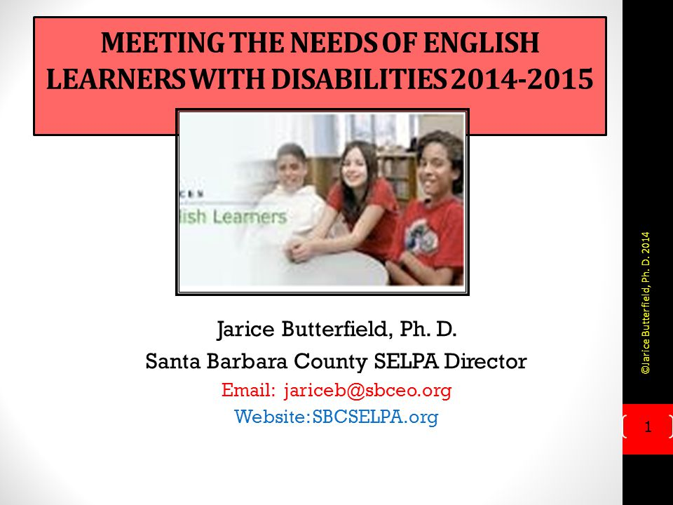 Meeting the Needs of English Learners with Disabilities 2014-2015