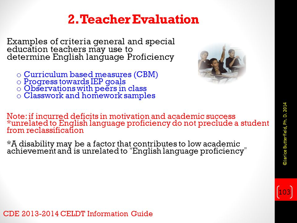 2. Teacher Evaluation Examples of criteria general and special