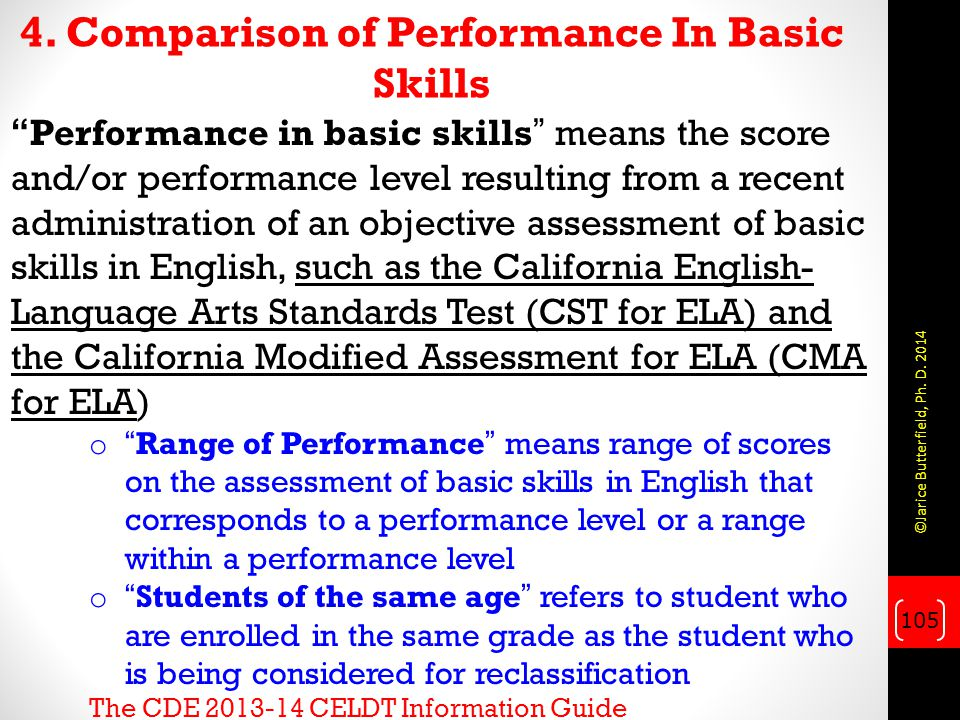 4. Comparison of Performance In Basic Skills