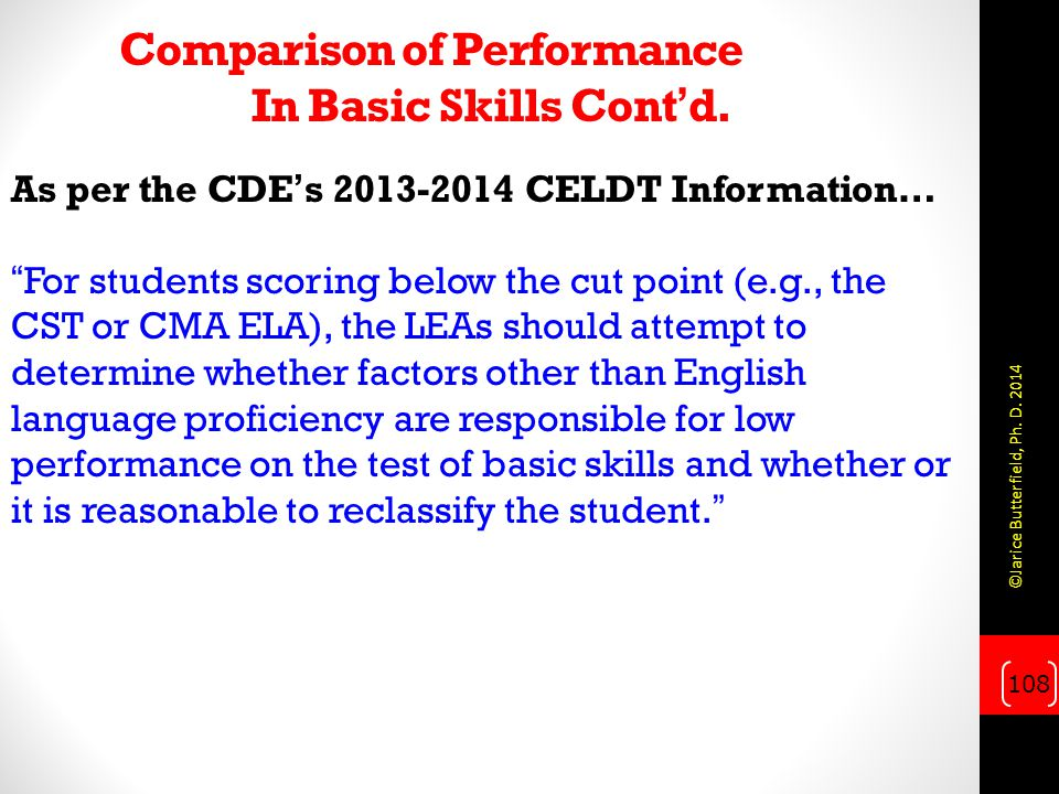 Comparison of Performance In Basic Skills Cont'd.