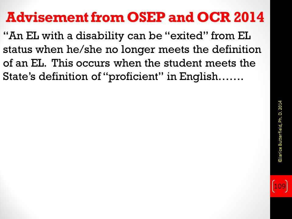 Advisement from OSEP and OCR 2014