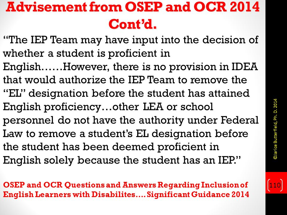 Advisement from OSEP and OCR 2014 Cont'd.