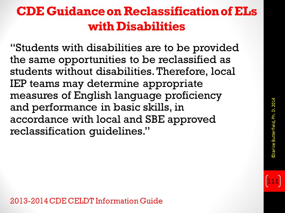 CDE Guidance on Reclassification of ELs with Disabilities
