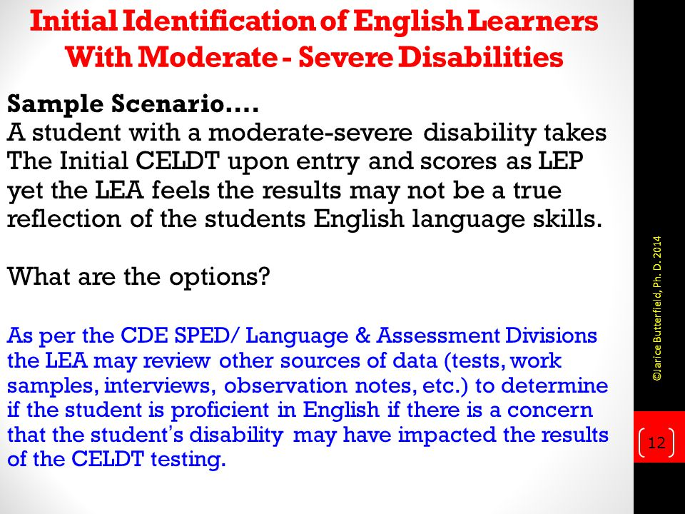 Initial Identification of English Learners With Moderate - Severe Disabilities