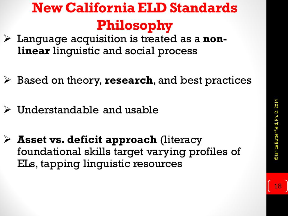 New California ELD Standards Philosophy
