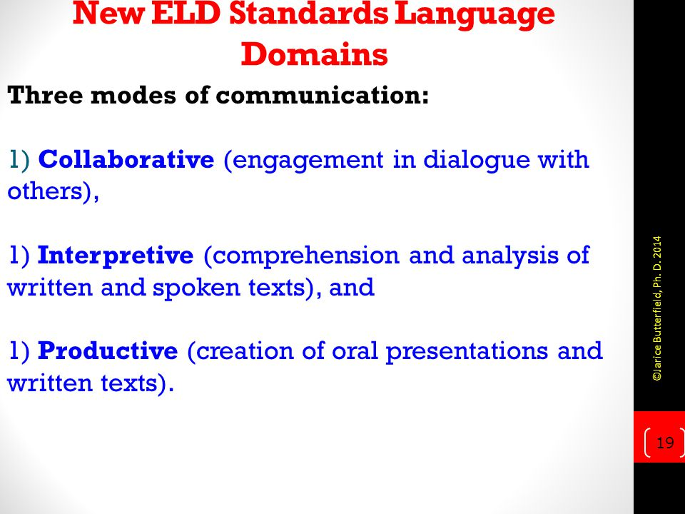 New ELD Standards Language Domains