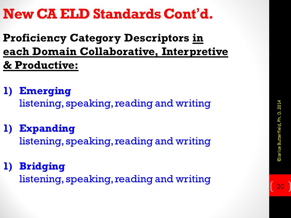 New CA ELD Standards Cont'd.