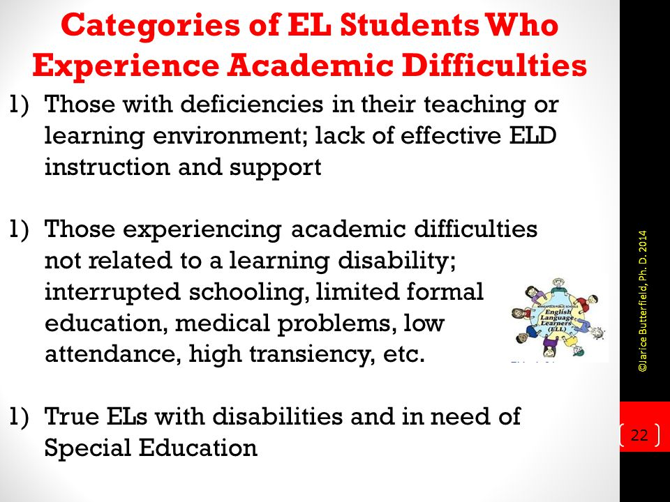 Categories of EL Students Who Experience Academic Difficulties