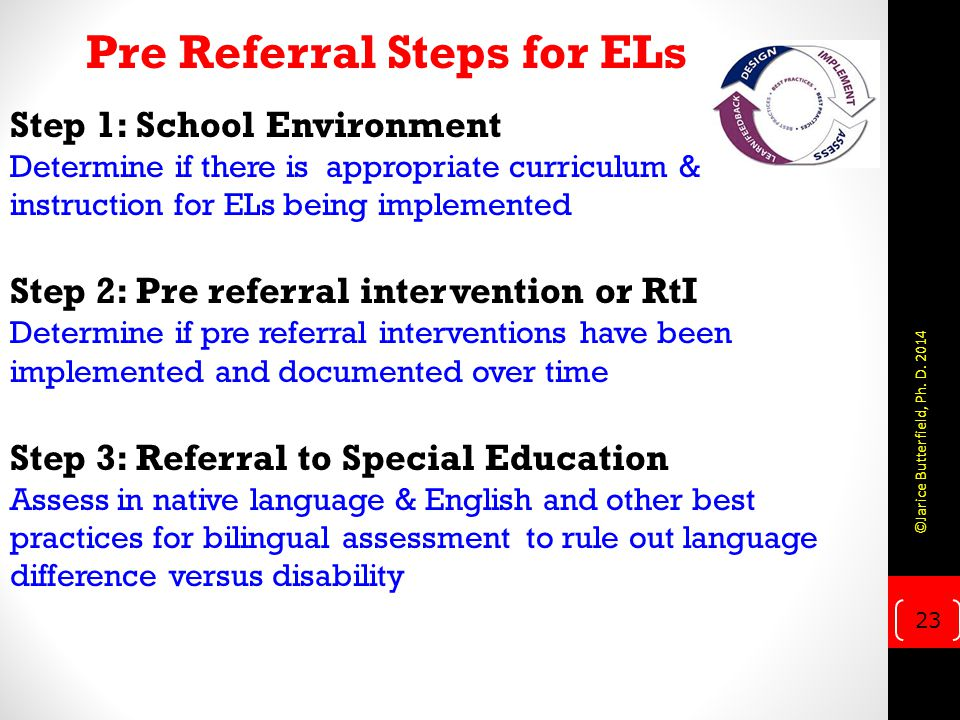 Pre Referral Steps for ELs