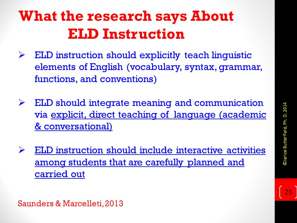 What the research says About ELD Instruction