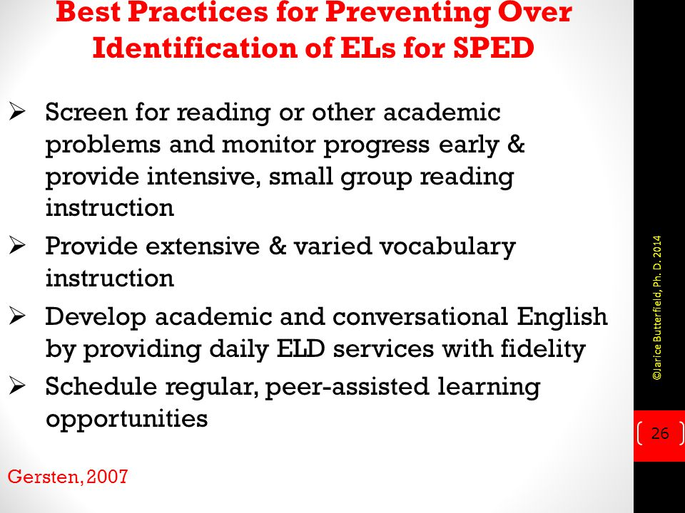 Best Practices for Preventing Over Identification of ELs for SPED