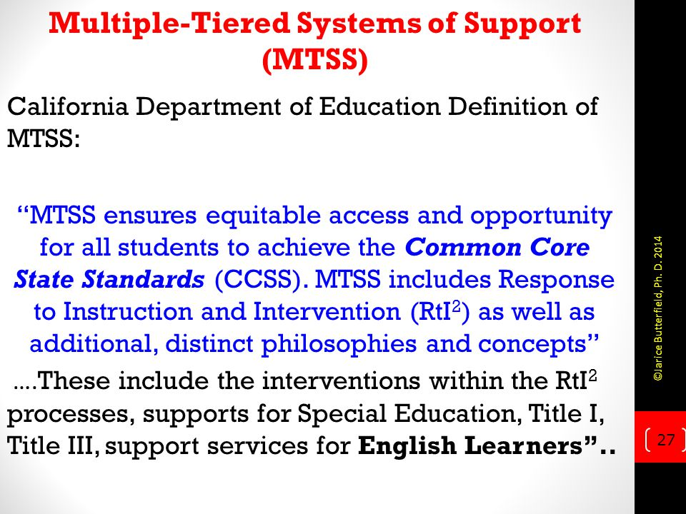 Multiple-Tiered Systems of Support (MTSS)