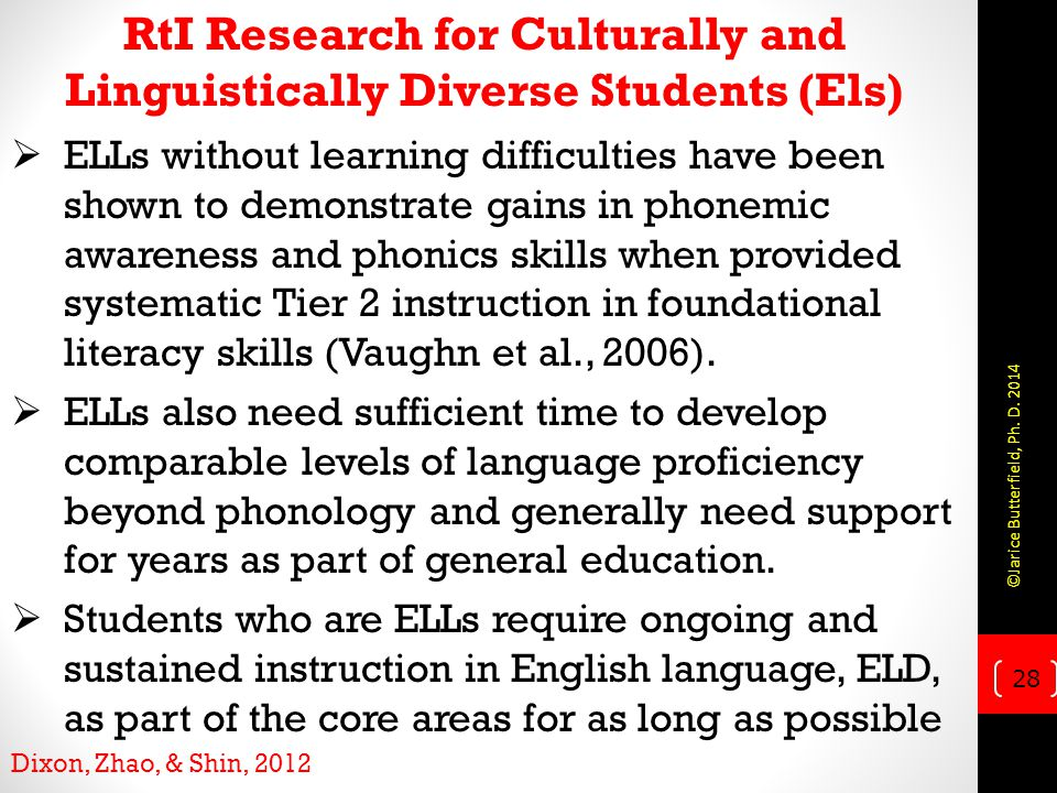 RtI Research for Culturally and Linguistically Diverse Students (Els)