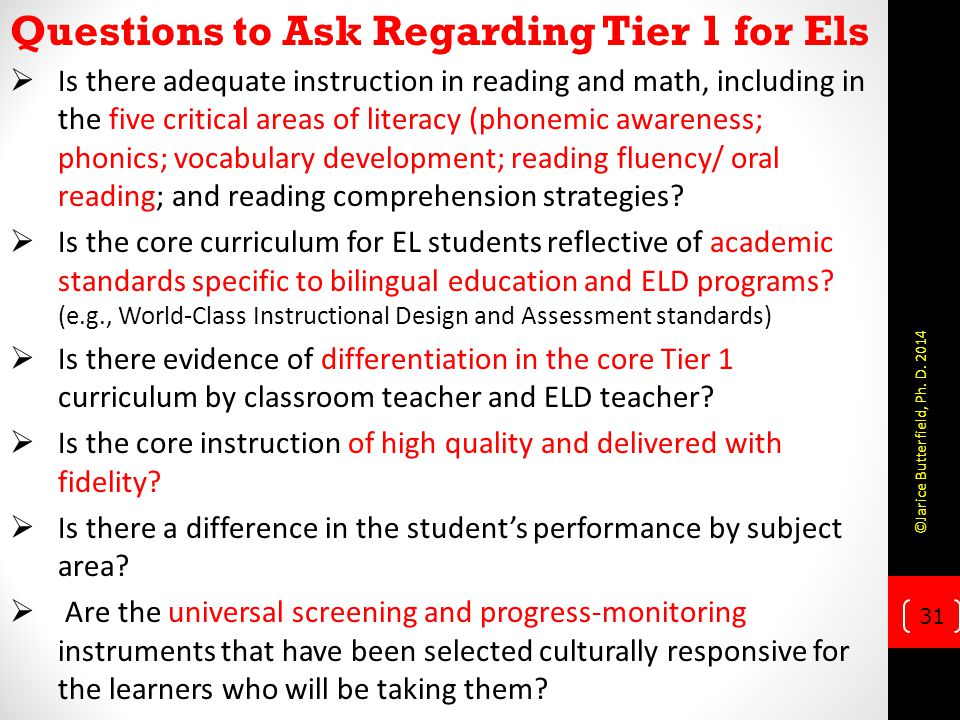 Questions to Ask Regarding Tier 1 for Els