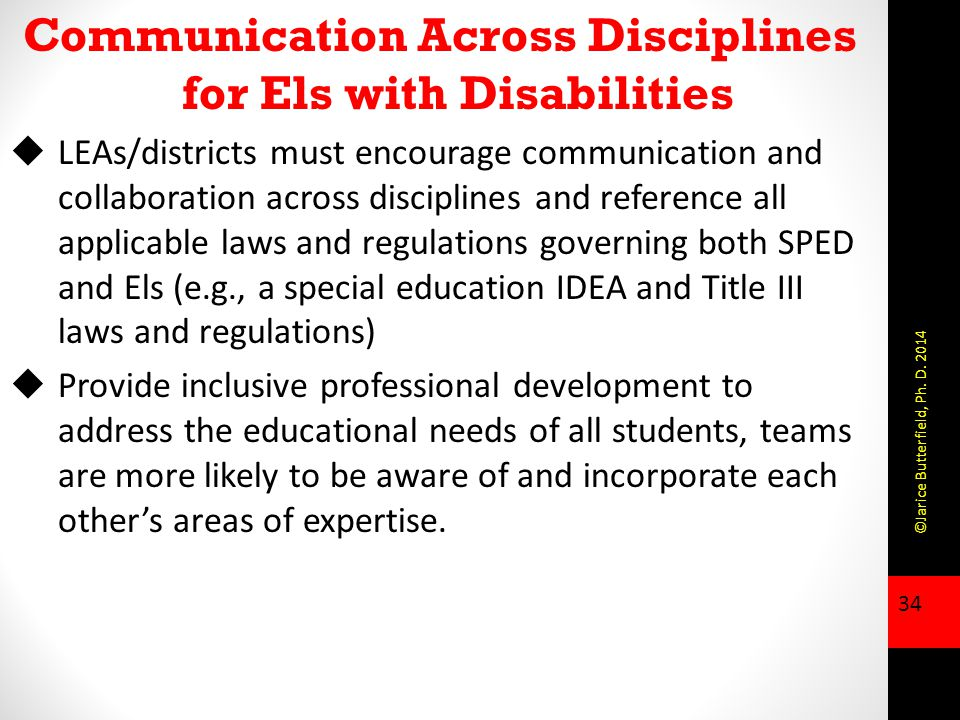 Communication Across Disciplines for Els with Disabilities